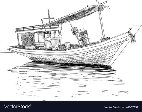 thai boat drawing thai fishing boat royalty free vector image vectorstock
