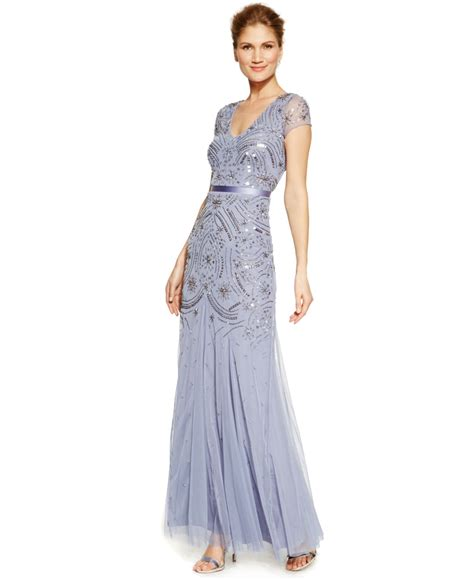 cap sleeve beaded gown papell beaded chiffon cap sleeve gown in blue lyst