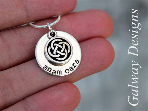 dainty irish hand stamped mommy necklace anam cara gaelic