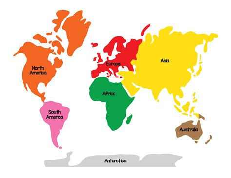 image of world map with continents montessori geography world map and continents gift of