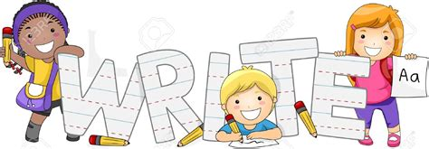 childrens writers artists 10327122 illustration of kids learning how to write stock illustration writing kids cartoon