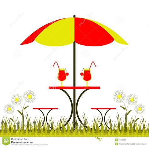 White Patio Chair Table With Umbrella Stock Vector Image Of Bunch Flores