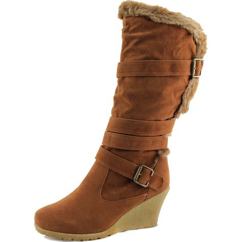 mid calf boots vegan fur faux suede buckle wedge