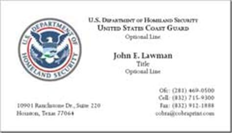 dhs business card template cobra printing productions uscg business cards