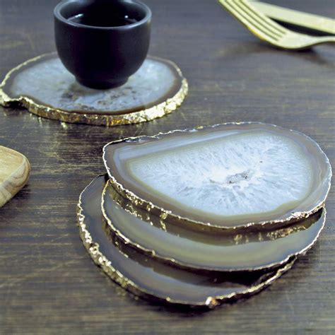agate home decor gold plated agate coasters set of two agate