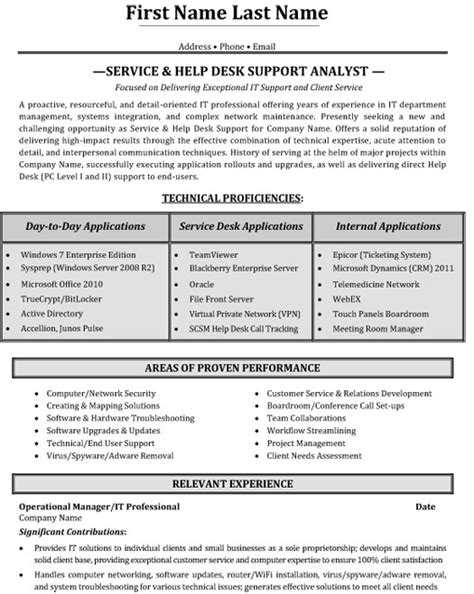 Resume Sles It Help Desk Top Help Desk Resume Templates Sles