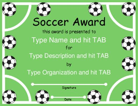 templates for soccer awards award certificate templates soccer pinterest award