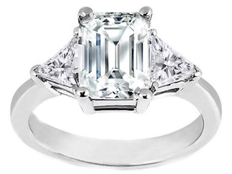 emerald cut engagement ring trillion side stones 0