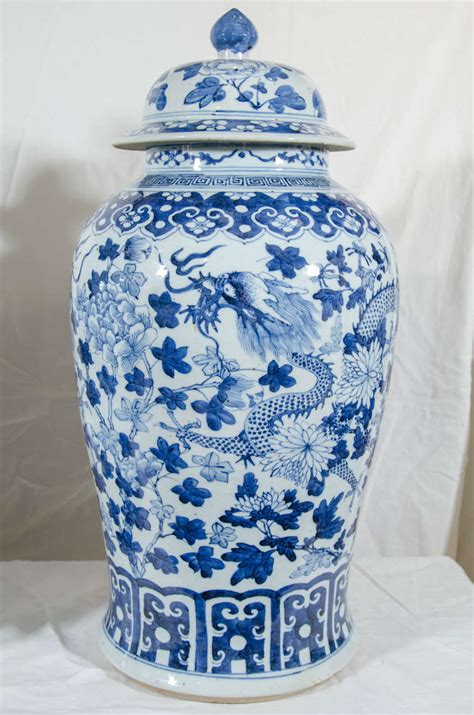 Large Blue And White Vases by Pair Of Large Blue And White Porcelain Vases With Dragons At 1stdibs