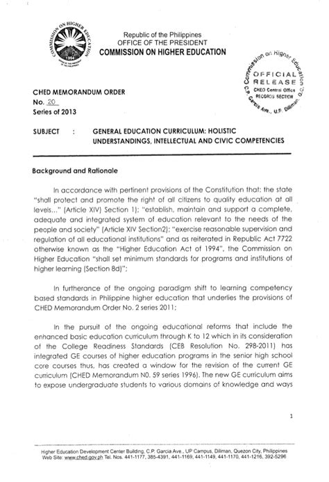Memo Sle In Tagalog ched memorandum order no 20 s2013 general education curriculum