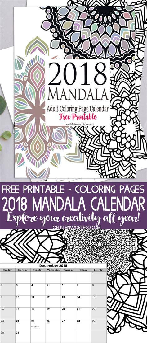 Free Coloring Page 2018 by 2018 Mandala Coloring Page Calendar Free Printable