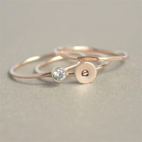 gold stacking ring set initial ring gold ring