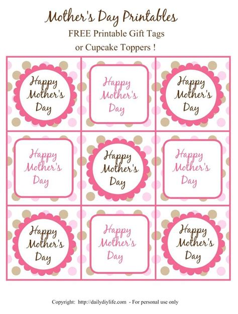 printable gift card tags mother s day free printable gift tags or cupcake toppers