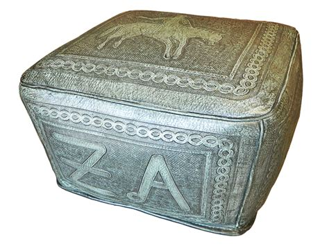 turquoise leather ottoman tooled leather large square ottoman with bronco and brand