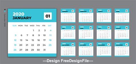 set desk calendar  template design vector