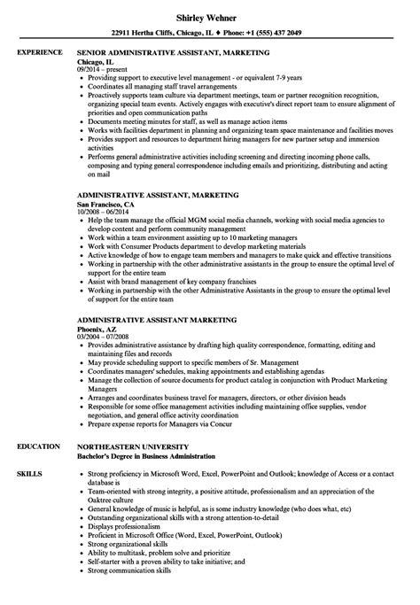 Marketing Administrative Assistant Sle Resume by Gallery Assistant Sle Resume Appointment Scheduler Sle Resume