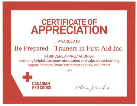 Canadian Red Cross Certificates of Appreciation 2015   Be