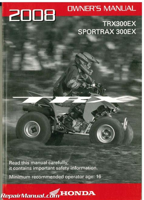 2008 honda trx300ex 2008 honda trx300ex sportrax atv owners manual
