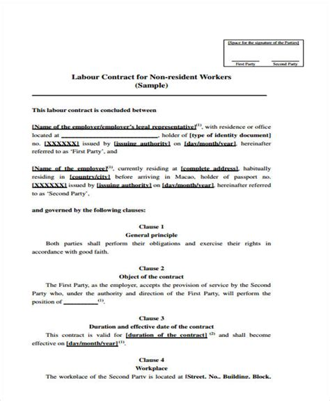 labour contract template labor agreement templates 6 free word pdf format