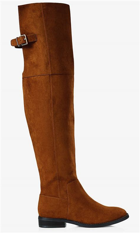 faux suede the knee flat boot express