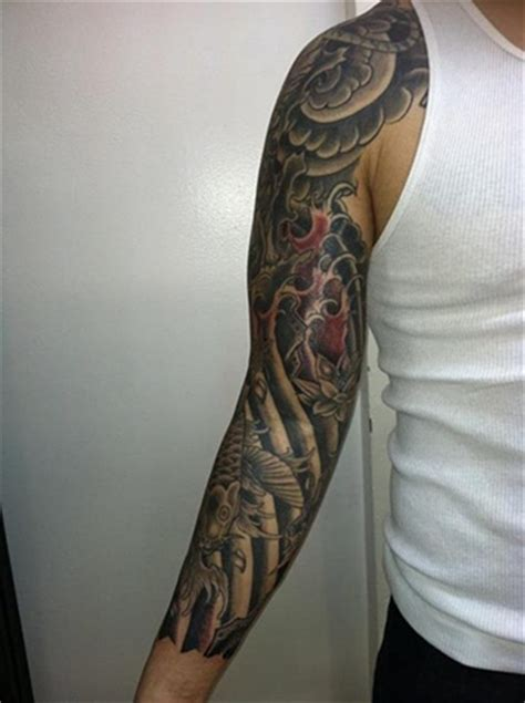 infinity tattoo nyc koi fish sleeve front
