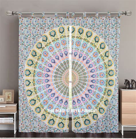 tapestry curtains sale white yellow peacock mandala tapestry curtain panel pair