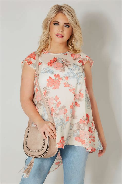 Floral Chiffon Top ivory coral floral chiffon top plus size 16 to 36