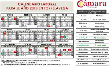 Calendario 2018 Oficial Calendario Laboral 2018 C 225 Mara De Comercio De Torrelavega