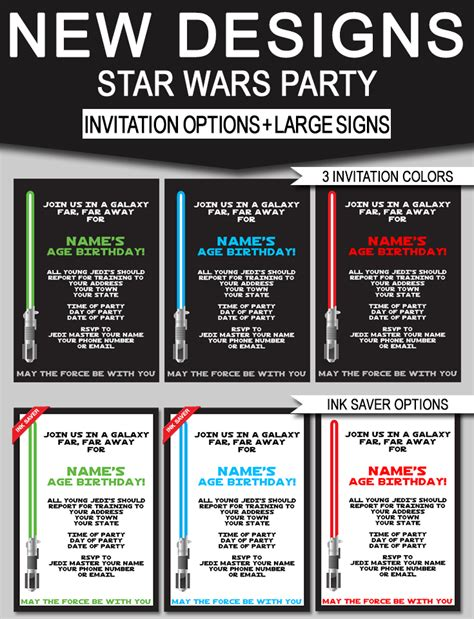star wars birthday party invitations signs new designs