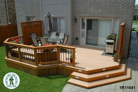 front view of a large low single level deck with privacy