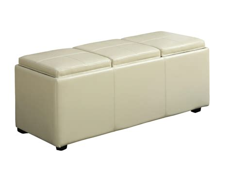 Rectangular Tray For Ottoman Simpli Home Avalon Faux Leather Rectangular Storage Ottoman With 3 Serving Trays