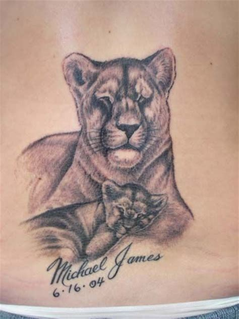 lion with cub tattoo designs this isn t a but i like the idea and