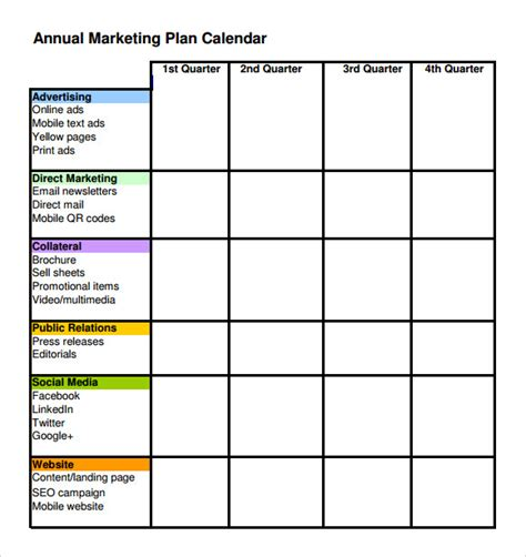 6 Marketing Schedule Templates Sle Templates Yearly Marketing Plan Template