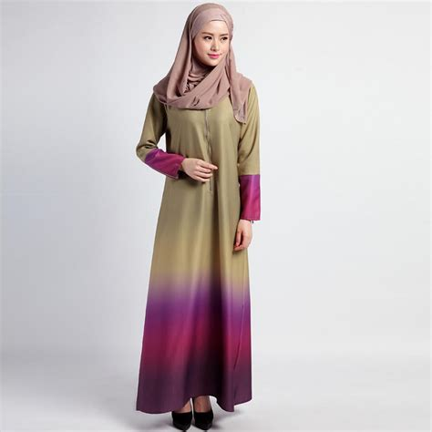 Maxi 8577 Dress Busana Muslim cotton maxi dress 2017 muslim style fashion clothing o neck rainbow colors vintage