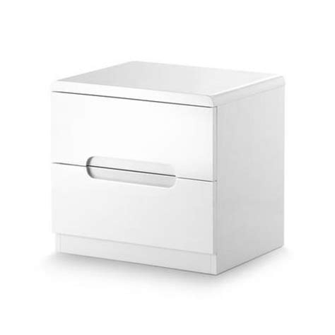 Set Of 2 White Bedside Tables Julian Bowen Manhattan White High Gloss 2 Drawer Bedside