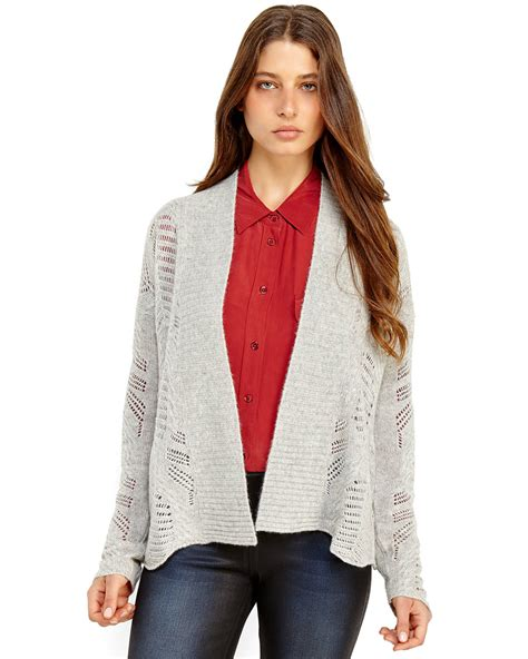 pointelle knit cardigan qi pointelle knit cardigan in gray grey lyst