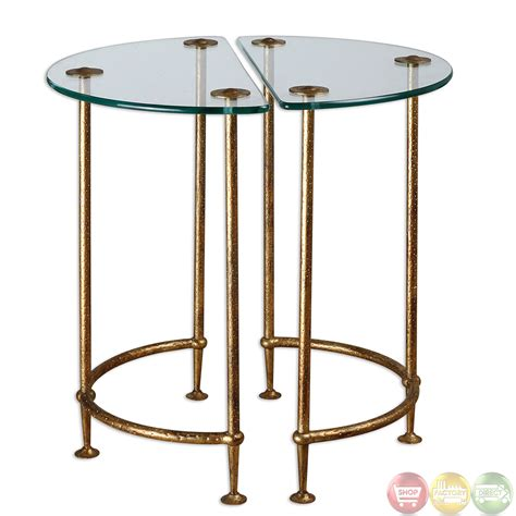 End Table Set Of 2 aralu antique gold finish glass top set of 2 side tables