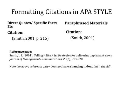 apa format using numbers exle of apa citation in paper your work note