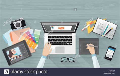 professional creative graphic designer working at office