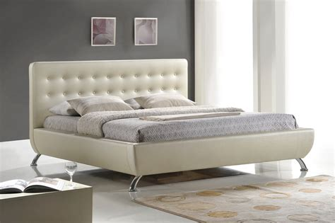 King Size Bed With Upholstered Headboard by Baxton Studio Bbt6295 Elizabeth Pearlized White Modern