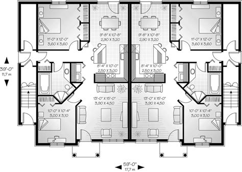 floor plan modern family house marland multi family fourplex plan 032d 0380 house plans