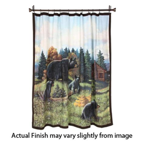 bear curtain rods black bear lodge shower curtain