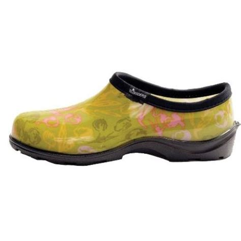 sloggers tulip green printed slip on garden shoes womens