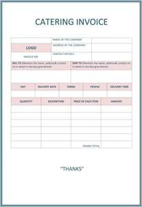 catering templates free catering invoice template free free business template