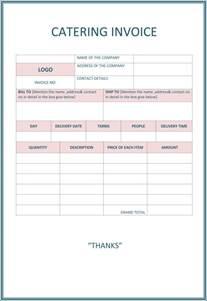 Catering Invoice Template   Invitation Template