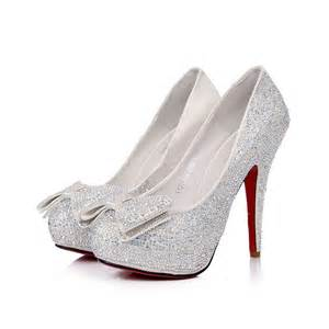heels silver stones bows top prom