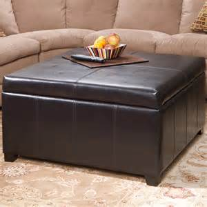 Square Leather Storage Ottoman Berkeley Brown Leather Square Storage Ottoman Contemporary Footstools And Ottomans Los