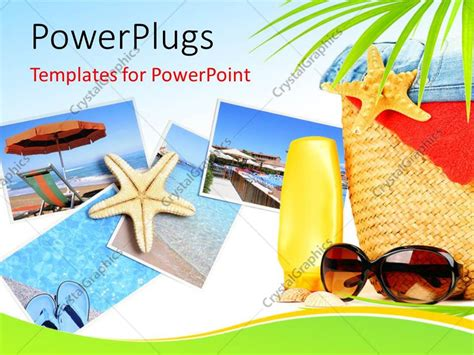 Powerpoint Template Various Pictures Of The Beaches With Bluish Background 8092 Summer Powerpoint Template