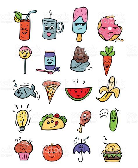 imagenes de comida rapida kawaii set de comida kawaii ilustraciones de dibujos animados de