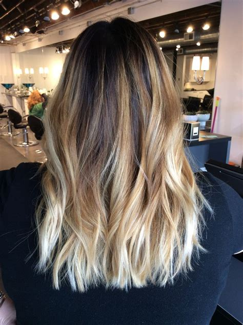 hair color blonde on top dark at ends long hair ombr 233 balayage with dark brown root warm blonde balayage